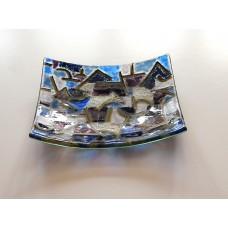 Blue night square dish